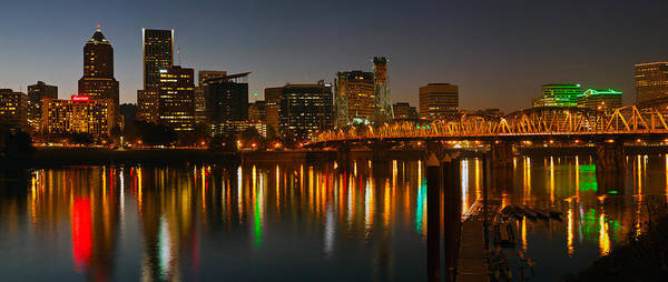 Willamette Photograph - Skyline With City Light At Night by Panoramic Images