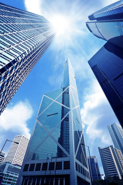 Vertical Perspective Photograph - Skyscraper In Hong Kong by Ithinksky