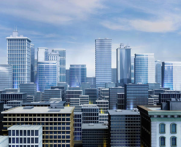Exterior Digital Art - Skyscraper Office Buildings In City by Ryan Etter