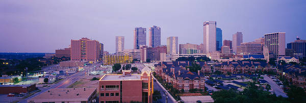 Fort Worth Photograph - Skyscrapers In A City At Dusk, Fort by Panoramic Images