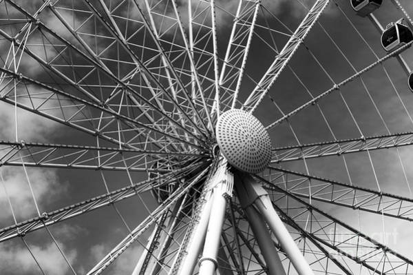 Oceanfront Photograph - Skywheel Center Mono by John Rizzuto