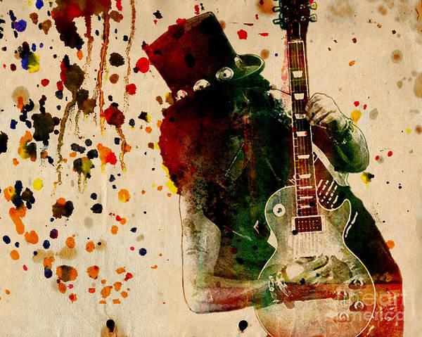 Velvet Revolver Wall Art - Painting - Slash - Watercolor Print From Original  by Ryan Rock Artist
