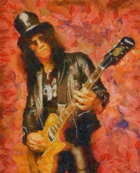 Velvet Revolver Wall Art - Painting - Slash Shredding On Guitar by Dan Sproul