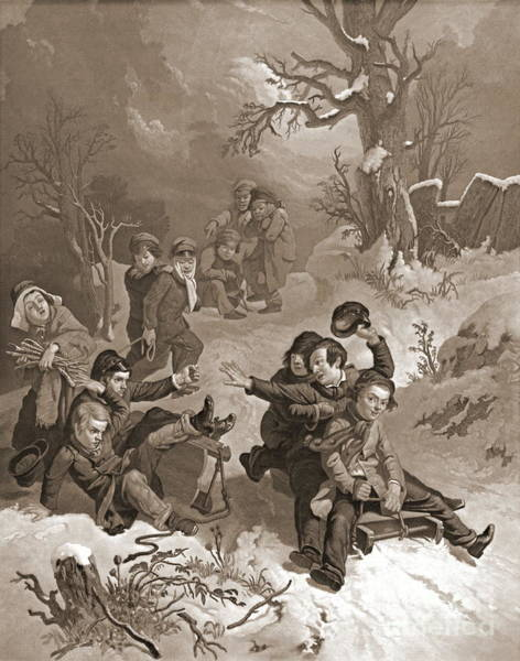 Wall Art - Photograph - Sledding 1854 by Padre Art