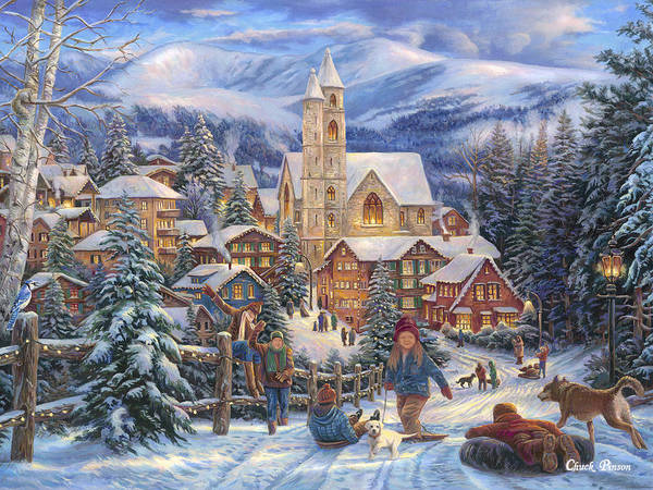 Village Painting - Sledding To Town by Chuck Pinson