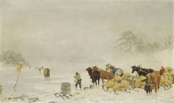 Sledge Wall Art - Painting - Sledges On The Ice by Arthur Nikutowski