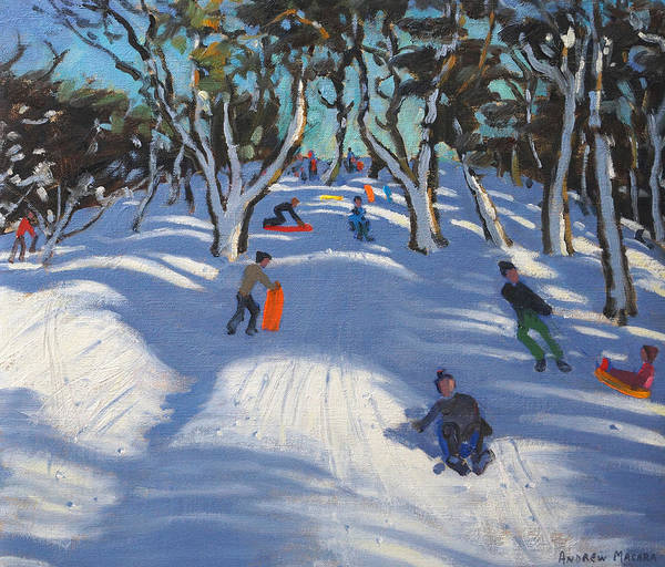 Winter Fun Painting - Sledging At Ladmanlow by Andrew Macara