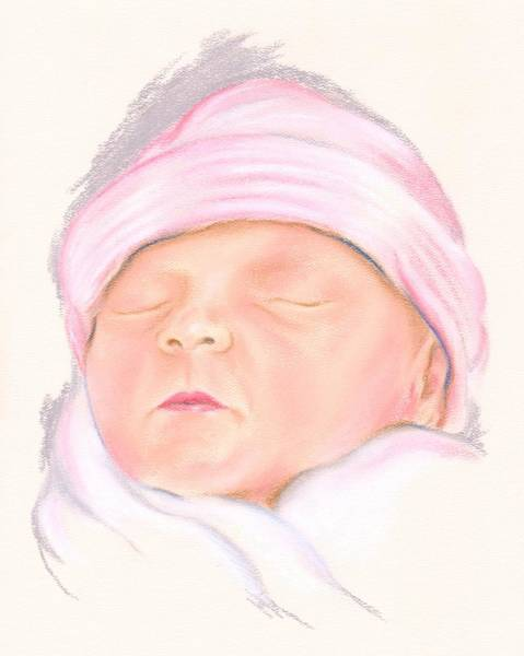 Pastel - Sleeping Baby In A Pink Hat by MM Anderson