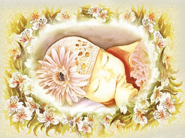 Wall Art - Painting - Sleeping Baby Vintage Dreams by Irina Sztukowski