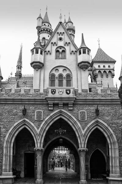 Wall Art - Photograph - Sleeping Beauty Castle Disneyland Backside Bw by Thomas Woolworth