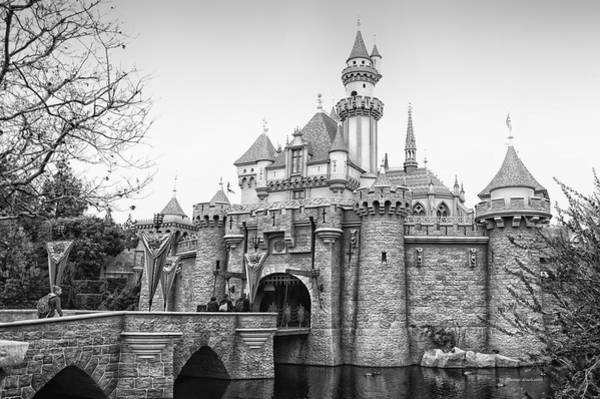 Wall Art - Photograph - Sleeping Beauty Castle Disneyland Side View Bw by Thomas Woolworth
