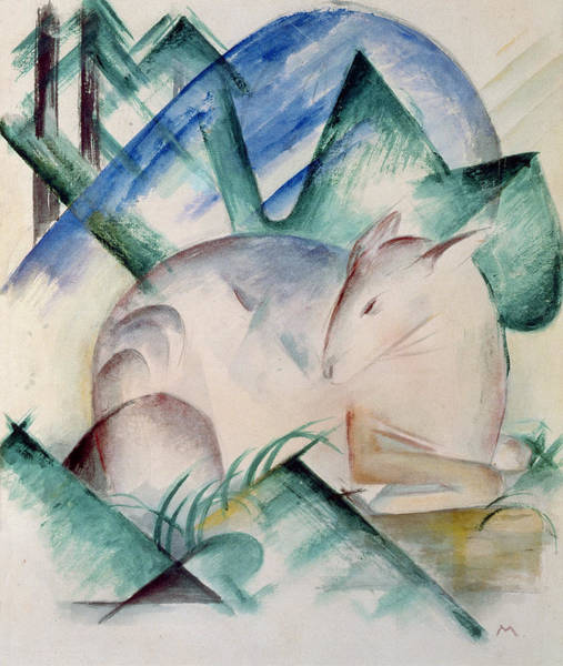 Expressionist Photograph - Sleeping Deer Wc by Franz Marc