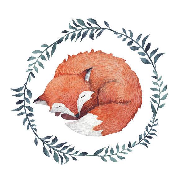 Doodle Digital Art - Sleeping Fox by Juliia Tochilina