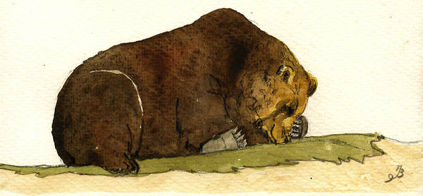 Sleeping Grizzly Bear Art Print