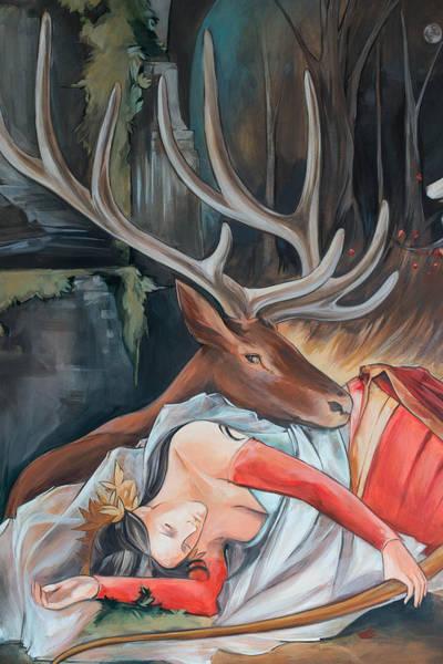 Elk Painting - Sleeping Huntress by Jacque Hudson