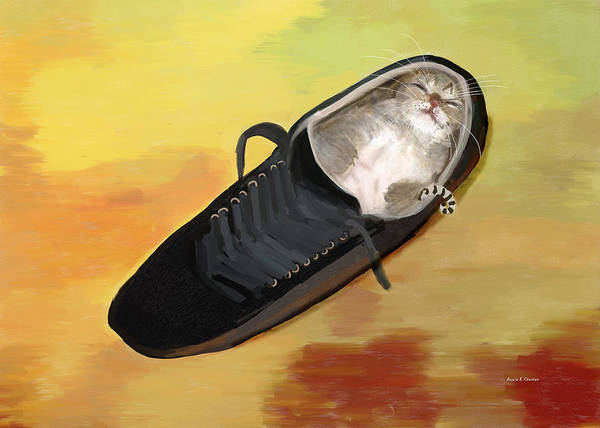 Curl Up Painting - Sleeping Kitten In A Shoe by Angela Stanton