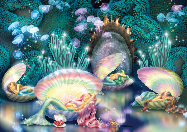 Mythical Photograph - Sleeping Mermaids by MGL Meiklejohn Graphics Licensing