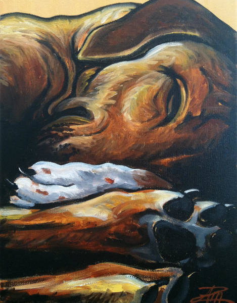 Snuggle Painting - Sleeping Ridgeback by Ana Marusich-Zanor