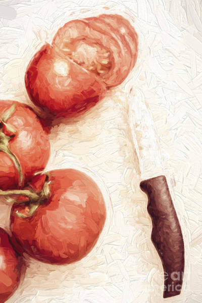 Knife Digital Art - Sliced Tomatoes. Vintage Cooking Artwork by Jorgo Photography - Wall Art Gallery