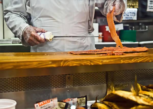Photograph - Slicing Smoked Salmon At Zabar's by Rona Black