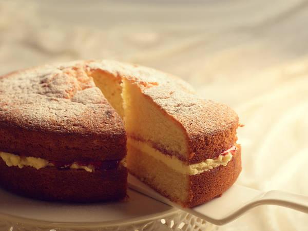 Sponge Photograph - Slicing The Cake by Amanda Elwell