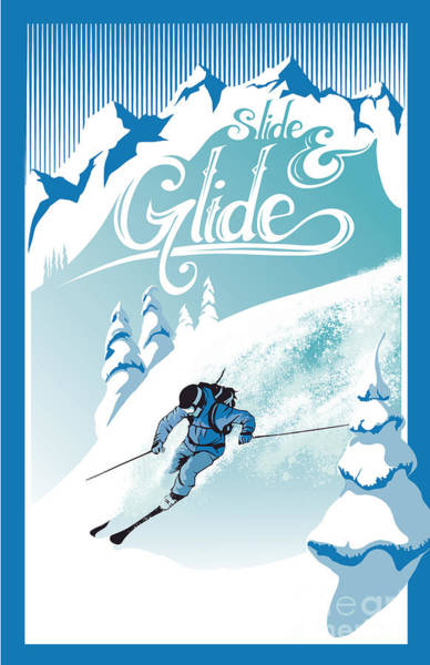 Rockies Wall Art - Painting - Slide And Glide Retro Ski Poster by Sassan Filsoof
