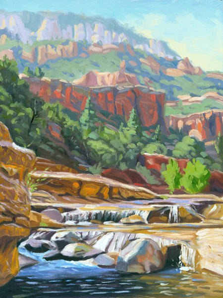 Oak Creek Canyon Painting - Slide Rock by Steve Simon