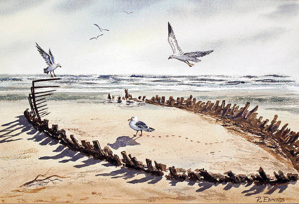 Gull Painting - Slim Pickins' by Raymond Edmonds