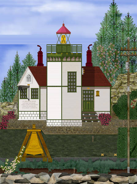 Wall Art - Painting - Slip Point Lighthouse Vintage by Anne Norskog