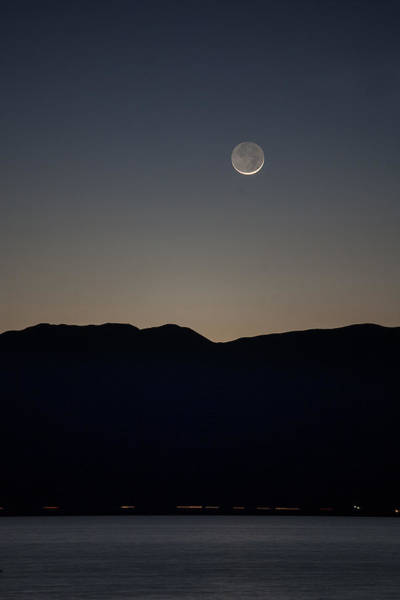 Sliver Photograph - Sliver Moon Over The Salton Sea by Peter Tellone