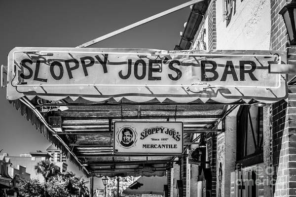 Conch Photograph - Sloppy Joe's Bar Canopy Key West - Black And White by Ian Monk
