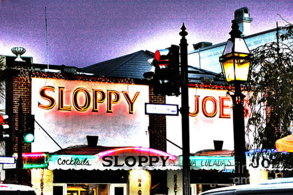 Photograph - Sloppy Joes Night Bar In Key West 2 by Susanne Van Hulst