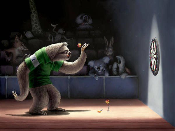 Digital Art - Sloth Darts by Ben Hartnett