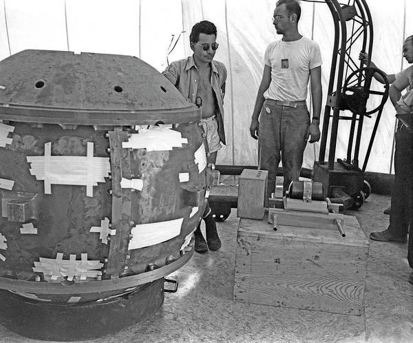 Trinity Photograph - Slotin With The Trinity Atom Bomb by Los Alamos National Laboratory