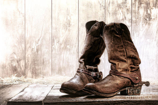 Rodeo Photograph - Slouch Cowboy Boots by Olivier Le Queinec