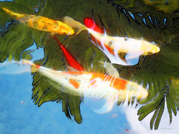 Painting - Slow Drift - Colorful Koi Fish by Sharon Cummings