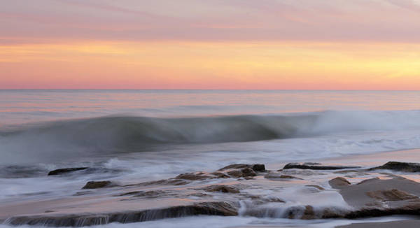 Slow Motion Wave At Colorful Sunset Art Print