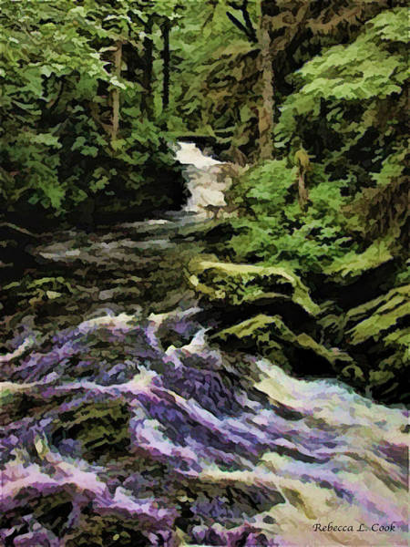 Digital Art - Small Alaskan Waterfall by Bellesouth Studio
