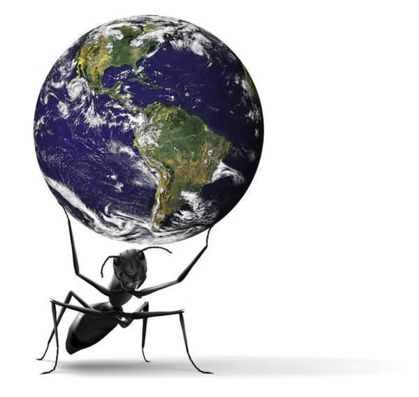 Blue Bug Digital Art - Small Ant Lifting Heavy Blue Earth by Dirk Ercken