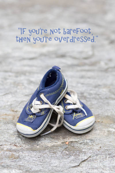 Saying Photograph - Small Blue Sneakers by Edward Fielding