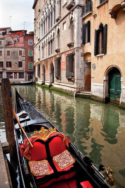 Balcony Photograph - Small Canal Bridge Buildings Gondola by William Perry