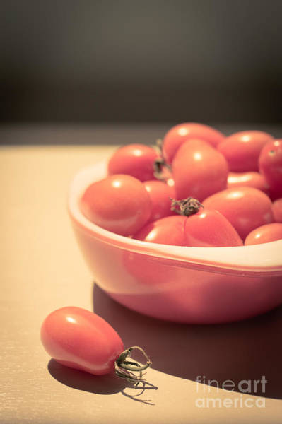 Wall Art - Photograph - Small Cherry Tomatoes In A Bowl by Edward Fielding