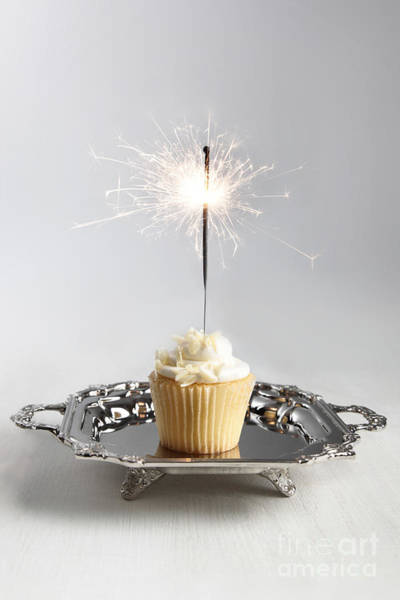 Photograph - Small Cupcake With Sparkler by Sandra Cunningham