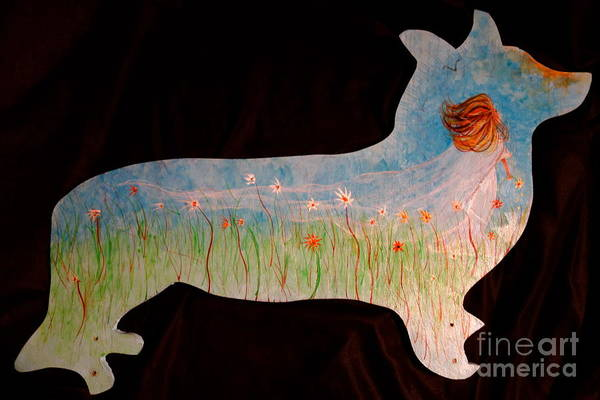 Painting - Small Dog Cut Out With Bride In Wind by Jacqueline Athmann