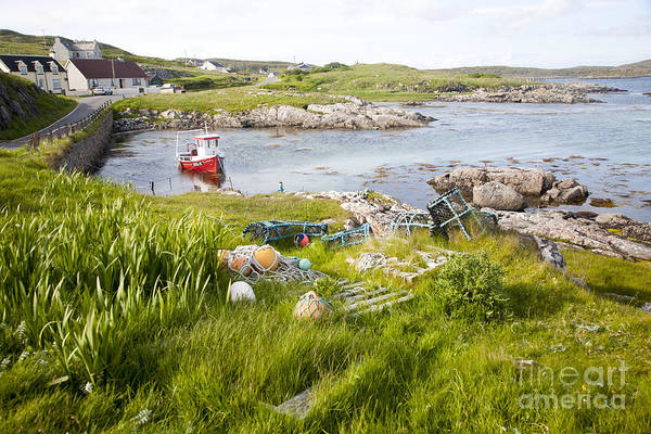 Small Fishing Boat At Moorings On The East Coast Of Barra Outer Hebrides Scotland Art Print