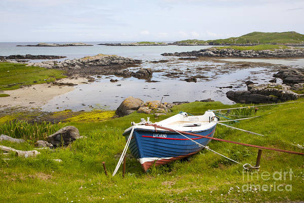 Small Fishing Boat On The East Coast Of Barra Outer Hebrides Scotland Art Print