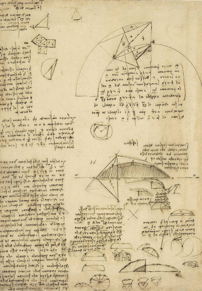 Math Drawing - Small Front View Of Church Squaring Of Curved Surfaces Triangle Elmain Or Falcata by Leonardo Da Vinci