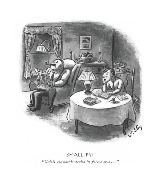 Homework Drawing - Small Fry  Gallia Est Omnis Divisa In Partes Tres by William Steig