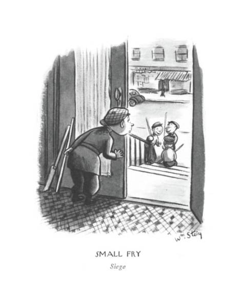 Wall Art - Drawing - Small Fry Siege by William Steig