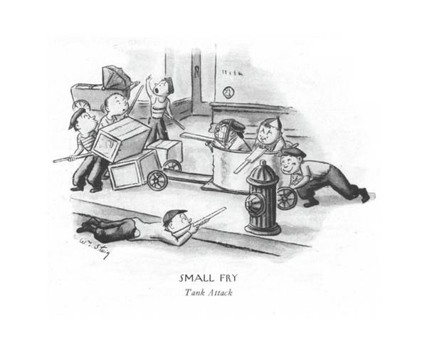 Attack Drawing - Small Fry Tank Attack by William Steig